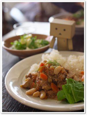 KomaguraCafe_豚肉と白いんげん豆のワイン煮ごはん
